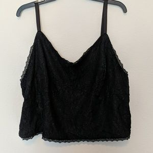 Ashley Nell Tipton Black Lace Crop Top